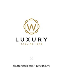 Luxurious minimalist elegant sophisticated Initial W letters geometric rounded hexagonal badge logo design vector with line art style in gold colors for hotel, boutique, jewelry, restaurant or company
