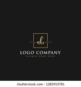 Luxurious minimalist elegant sophisticated Initials letters UB linked inside square line box vector logo designs inspirations in gold colors for brand, hotel, boutique, jewelry, restaurant or company
