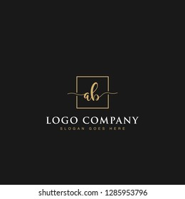 Luxurious minimalist elegant sophisticated Initials letters AB linked inside square line box vector logo designs inspirations in gold colors for brand, hotel, boutique, jewelry, restaurant or company