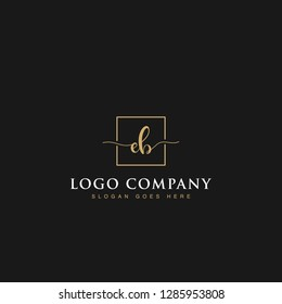 Luxurious minimalist elegant sophisticated Initials letters EB linked inside square line box vector logo designs inspirations in gold colors for brand, hotel, boutique, jewelry, restaurant or company