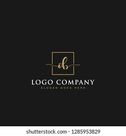 Luxurious minimalist elegant sophisticated Initials letters OB linked inside square line box vector logo designs inspirations in gold colors for brand, hotel, boutique, jewelry, restaurant or company
