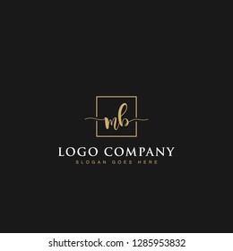 Luxurious minimalist elegant sophisticated Initials letters MB linked inside square line box vector logo designs inspirations in gold colors for brand, hotel, boutique, jewelry, restaurant or company