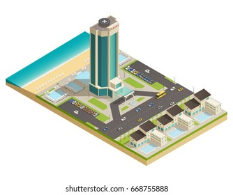 Luxurious modern building hotel tower in resort area  composition with road parking lot isometric view vector illustration