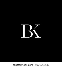 Luxurious modern creative artistic BK KB B K black and white initial based letter icon logo.
