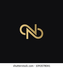 Luxurious modern stylish creative N NN fashion brands black and golden color initial based letter icon logo.
