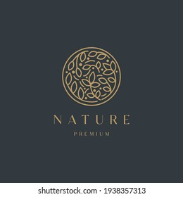 Luxurious Nature floral leaf ornament logo icon design template. Gold, elegant, beauty, spa, yoga, cosmetic product, modern vector illustration