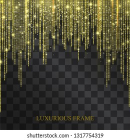 Luxurious neon golden glittering tinsel frame with shining confetti. Glowing lacy decorative garland for sumptuous design, expensive festive concept. Curtains arch for invitation posters, party flyer.