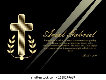Luxurious obituary with golden crucifix and lawrence branches on black background. Funeral announcement in luxurious design. Christian burial elements