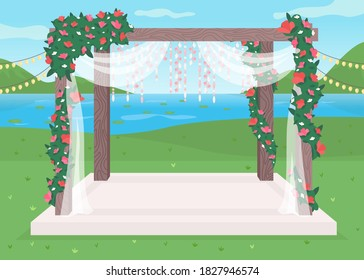 Luxurious outdoor wedding venue flat color vector illustration. Luxurious floral arch for celebratory party. Matrimony ceremony decoration 2D cartoon landscape with pond on background