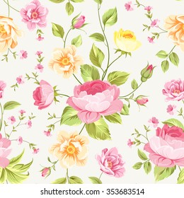 Luxurious peony and rose wallapaper in vintage style. Floral seamless pattern with blossom buds over  gray background.  Vector illustration.