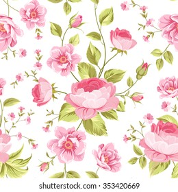 Luxurious peony wallapaper in vintage style. Floral seamless pattern with blossom buds over white background.  Vector illustration.