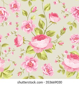 Luxurious peony wallapaper in vintage style. Floral seamless pattern with blossom buds over gray background.  Vector illustration.