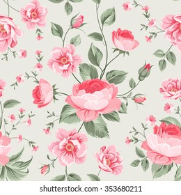 Luxurious peony wallapaper in vintage style. Floral seamless pattern with blossom buds over linear gray background.  Vector illustration.