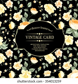 Luxurious peony wallapaper in vintage style. Floral card with blossom buds over black background.  Vector illustration.