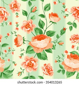 Luxurious peony wallapaper in vintage style. Floral seamless pattern with orange buds over linear green background.  Vector illustration.