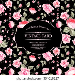 Luxurious peony wallapaper in vintage style. Floral  card with blossom buds over linear black background.  Vector illustration.