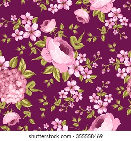 Luxurious peony wallapaper in vintage style. Floral seamless pattern with blossom buds over dark background.  Vector illustration.
