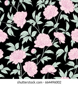 Luxurious peony wallapaper in vintage style. Seamless floral pattern with blossom flowers. Vector illustration.