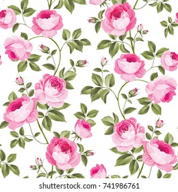 Luxurious peony wallapaper in vintage style. Seamless pattern of blooming roses for floral wallpaper. Vector illustration.