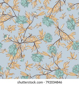 Luxurious peony wallapaper in vintage style. Floral seamless pattern with blue buds pions over linear blue background. Vector illustration.