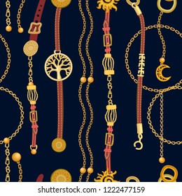 Luxurious print with chains, pendants, straps and ropes. Seamless vector pattern with jewelry elements and fashion accessories. Women's fashon collection. On black background.
