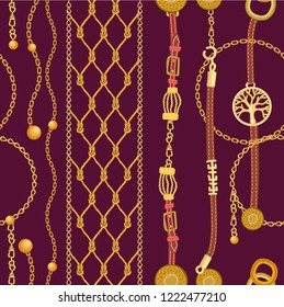 Luxurious print with chains, pendants, straps and ropes. Seamless vector pattern with jewelry elements and fashion accessories. Women's fashon collection. On brown background.