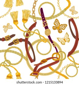 Luxurious print with chains, straps and brushes. Seamless vector pattern with jewelry elements. Women's fashon collection. On white background.