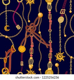 Luxurious print with fashion accessories. Seamless vector pattern with leather cords, straps, golden chains and jewelry elements. Women's fashon collection. On black background.