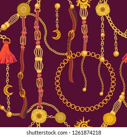 Luxurious print with fashion accessories. Seamless vector pattern with leather straps, chains and jewelry elements. Women's fashon collection. On brown background.