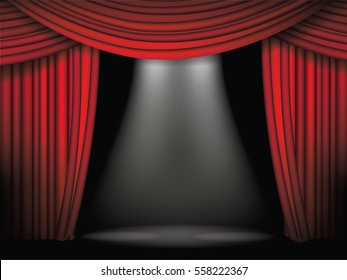Luxurious red curtains background template. Grand opening or other event announcement with dramatic movie or stage curtains. Open red velvet drapes, spotlight, copy space. EPS 10 vector.