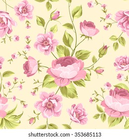 Luxurious rose wallapaper in vintage style. Floral seamless pattern with blossom buds over linear yellow background. The floral seamless pattern over light background. Vector illustration.