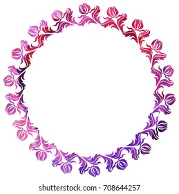 Luxurious round frame with decorative floral silhouettes. Copy space. Beautiful background for your artwork. Vector clip art.