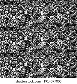 Luxurious, royal vector seamless pattern. Ornate background with hand drawn decorative flowers and elements. Vintage floral ornament for antistress coloring or print on fabrics.