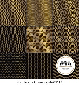 Luxurious seamless pattern colelction. Simple, but flashy background. Glossy gold on dark velvet background.