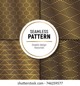 Luxurious seamless pattern collelction. Simple, but flashy background. Glossy gold on dark velvet background.