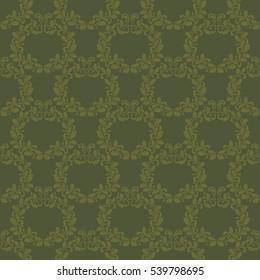 Luxurious seamless pattern in dark green tones. Wreaths made of oak leaves and acorns