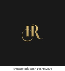 Luxurious trendy monogram HR initial based letter icon logo.