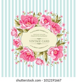 Luxurious vintage card of color peony. Wedding card with rose flowers over blue tile background. Vector illistration.