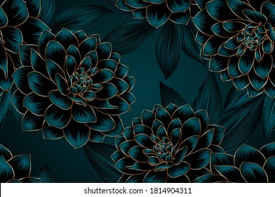 Luxurious vintage seamless pattern with golden flowers dahlia and leaves.