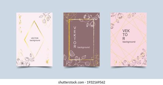 Luxurious wedding set of invitations, gratitude, certificate. Vector modern pink rsvp card design with decorative flowers.