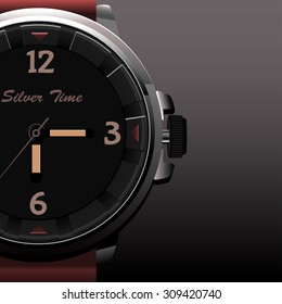 Luxurious Wristwatch with brown strap of leather. Silver Time. Watch Man Men Wristwatch. The concept of advertising shares half of watches. Background gray and clock.