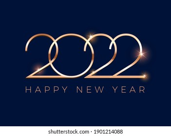 Luxury 2022 Happy New Year greeting card - golden shine 2022 lettering on dark blue background - vector