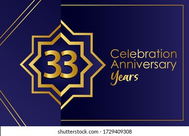 Luxury 33 year anniversary celebration blue and golden ornament color on Blue Background-vector