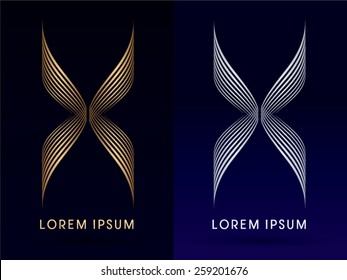 Luxury Abstract butterfly, X , wings , designed using gold and silver line,logo, symbol, icon, graphic, vector.