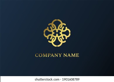 Luxury Abstract Logo Design with gold color