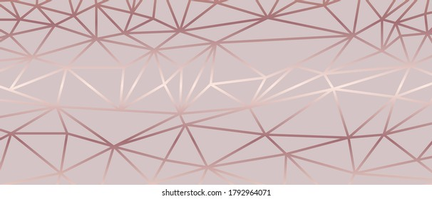 Luxury  abstract polygon artistic geometric with pink and rosegold line  Vector illustration.
