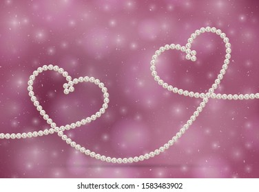 Luxury accessories symbol love. Romantic concept beautiful natural jewelry shape two intertwined hearts. Pearl necklace. Thread pearls. Realistic white pearls on beautiful background. Pearl chain hear