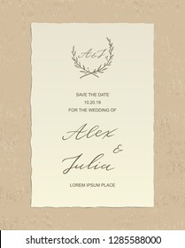 Luxury Alex and Julia wedding invitation card with hand drawn calligraphy text and floral label, on textured background - paper with deckled edges. Vector design template. Save the date welcome card.