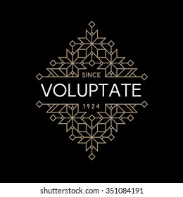 luxury antique art deco monochrome gold hipster minimal geometric vintage linear vector frame , border , label  for your logo, badge or crest for club, bar, cafe, restaurant, hotel, boutique