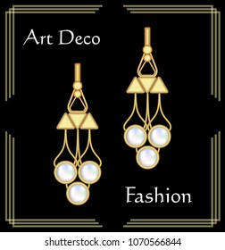 Luxury art deco filigree earrings, jewel with rare pearls , antique elegant gold jewelry, fashion in victorian style